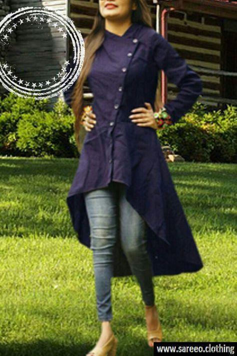 Latest Designer Nevy Blue Slub Cotton Kurti 2327-Jeni_3 color Navyblue