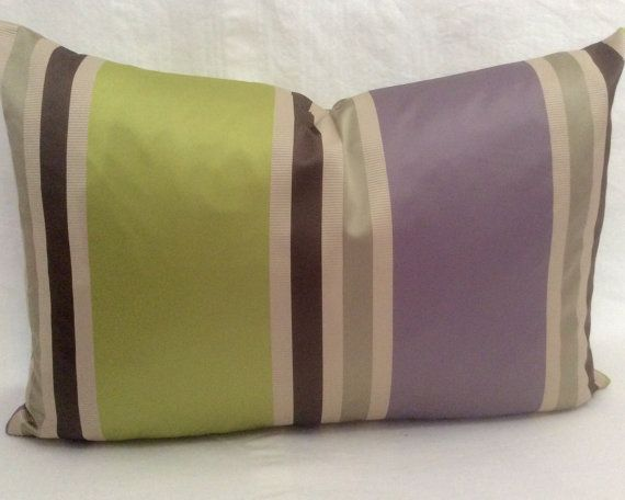Lime green and Violet purple BLOCK STRIPES rectangle / lumber cushion cover, pillow sham in John Lewis HOTEL fabric accent cushion cover. on Etsy, $49.32 AUD