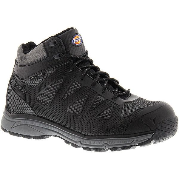 Dickies Fury Mid ST Men's Black Boot (160 BRL) ❤ liked on Polyvore featuring men's fashion, men's shoes, men's boots, black, mens black lace up shoes, mens lace up boots, mens breathable shoes, mens fur lined boots and mens shoes