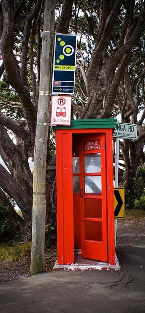 Phone box, Karaka Bay, Wellington, New Zealand