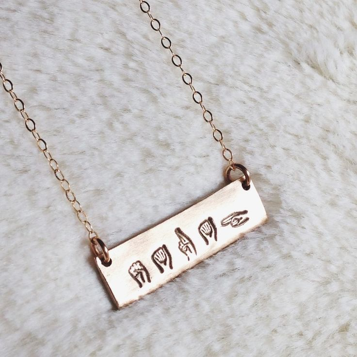 Customizable ASL bar necklace. I'm so in love with this!