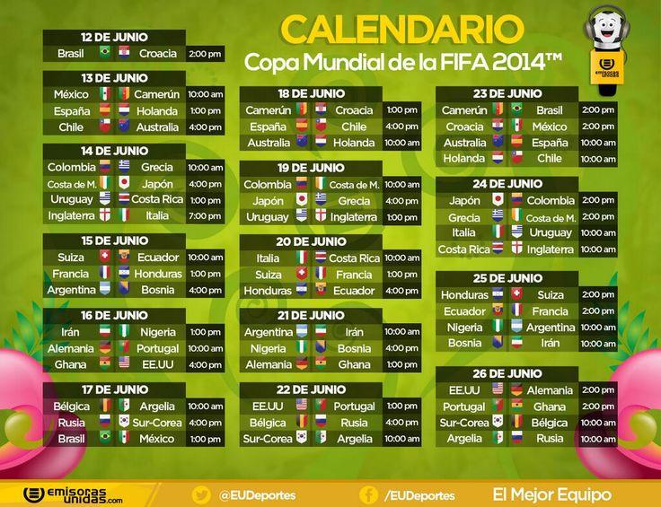 #LahoradelMundial este es el Calendario de Brasil 2014, con horario guatemalteco. #Euxela89.5 pic.twitter.com/SH9HaqKmIj
