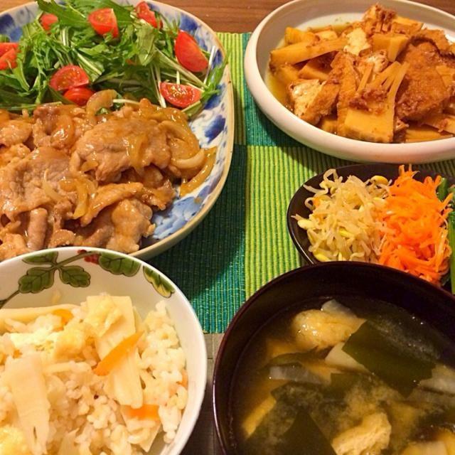 Bamboo shoots season has arrived - 15件のもぐもぐ - 生姜焼き、筍と厚揚の土佐煮、ナムル、筍ご飯など by Junya Tanaka