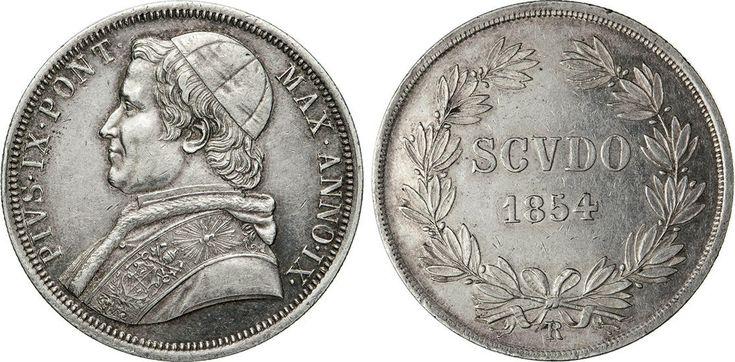 NumisBids: Numismatica Varesi s.a.s. Auction 65, Lot 852 : PIO IX (1846-1878) Scudo 1854 IX, Roma. Pag. 396 Ag SPL ...