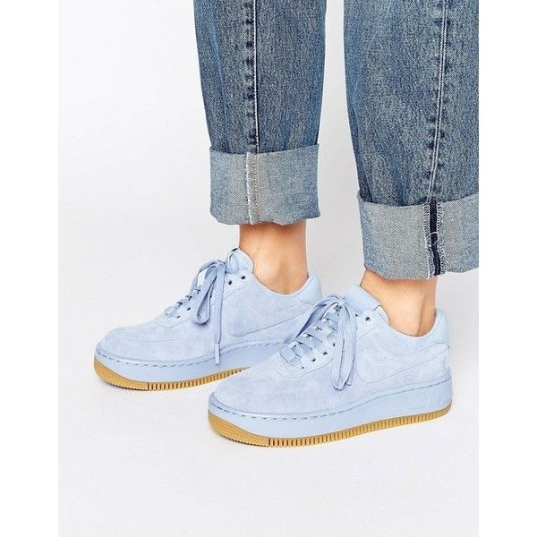 Nike Air Force 1 Upstep Premium Trainers In Blue Suede (1,930 MXN) ❤ liked on Polyvore featuring shoes, sneakers, suede shoes, blue high tops, suede cap, nike shoes and blue suede shoes