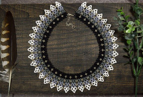 Trending necklace, Gray ombre necklace. Made of Czech beads number 10. Own design. Only hand made. Necklace with a smooth transition of colors. Clasp - metal carbine and chain. It can adjust the length. The length of the product - 16.35 in. Width - 1.57 in. Materials: Seed beads