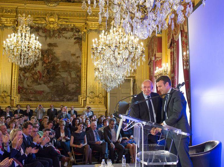 Emmanuel Macron, ministre de l'économie, de l'industrie et du numérique est reçu à la mairie de Lyon