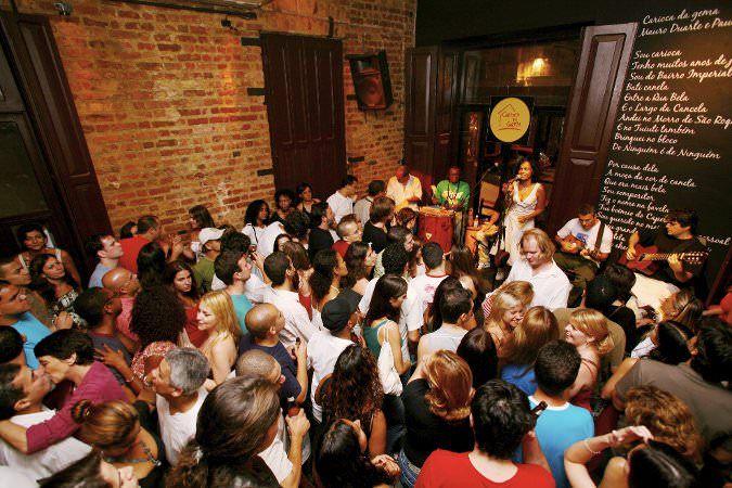 Samba music and dancing in Carioca da Gema, Lapa, Rio de Janeiro City, Brazil