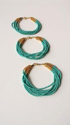 Bridesmaids turquoise bracelet, aqua bracelets, beaded bracelet, green and gold bracelets, seed bead bracelet, bridesmaid gifts, teal