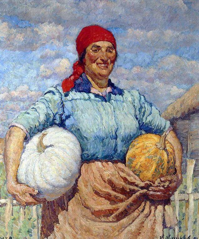 Farmer with pumpkins, 1930 Ilya Mashkov