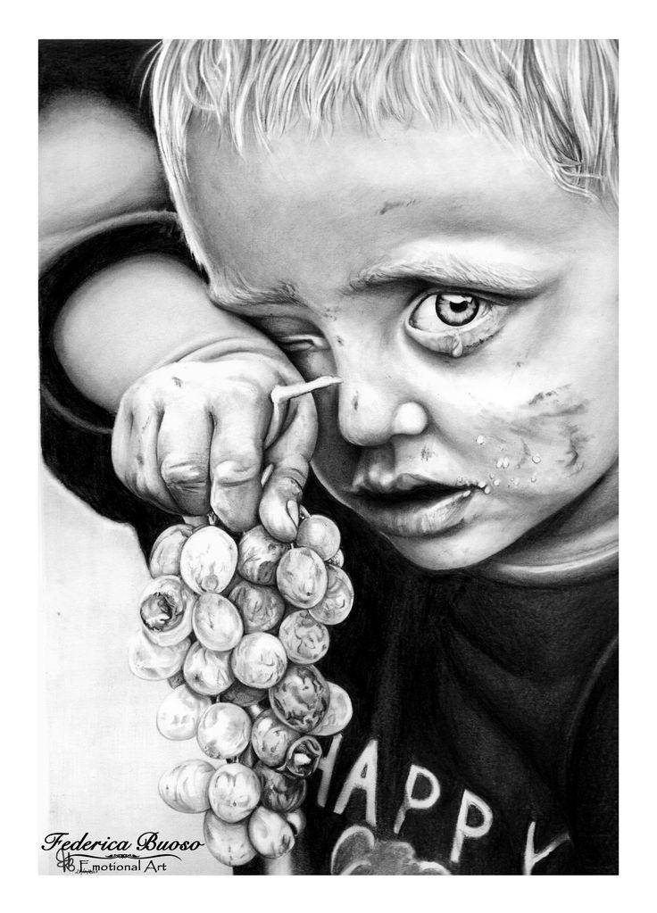 """"""" Diritto di vivere """" - Matite su Cartoncino liscio A4 (28/01/2015) Nell'opera è raffigurato un bimbo affamato, povero, ma non è il classico bambino di un paese colpito dalla guerra. E' un bimbo europeo, forse anche di una delle nostre città. Il problema della fame è una tematica che si sta facendo sentire sempre più anche nelle grandi città industrializzate. Non permettiamo che i nostri bambini soffrano la fame. Il cibo è vita. Tutti, sopratutto i bambini, devono avere il diritto di vivere."""