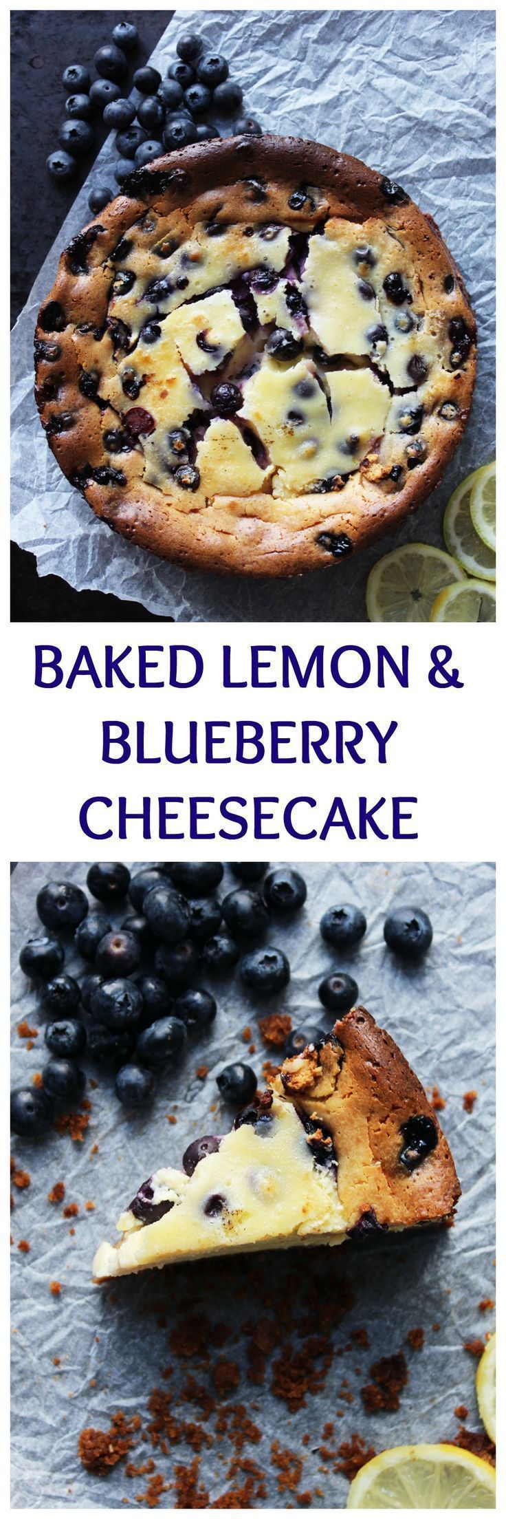 This easy Baked Lemon & Blueberry Cheesecake is super creamy and packed full of the flavours of summer. Make ahead of time for a hassle free dessert Cheesecake Recipe   Lemon & Blueberry Recipes   Make Ahead Desserts   Easy cheesecake recipe #lemoncheesecake #blueberrycheesecake #easycheesecakerecipe