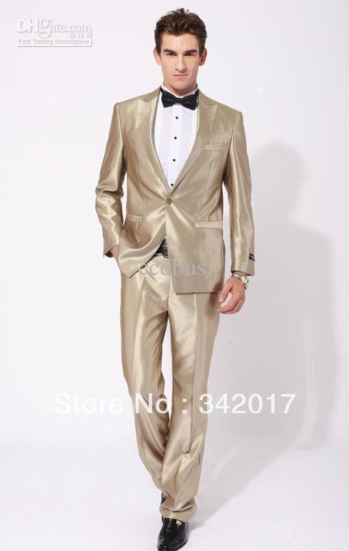 2014 NEW Gold Best man slim Groom Tuxedos Men's Wedding Dress Prom Clothing Best man Suit (Jacket+Pants+Tie)