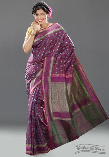 Magenta Handloom Silk Saree with Zari