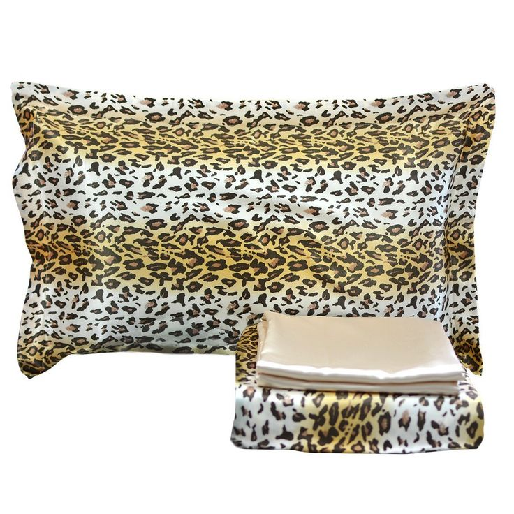 FADFAY Luxury 4-Piece Satin Silky Bed Sheet Set Bedding Collection-Leopard Print, Super Soft Slippery Black / Brown Bedding Set,Queen