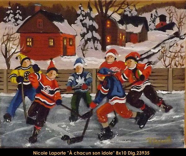 Nicole Laporte original oil painting on canvas #nicolelaporte #art #artist #canadianartist #quebecartist #naiveart #winterscene #hockey #originalpainting #oilpainting #balcondart #multiartltee