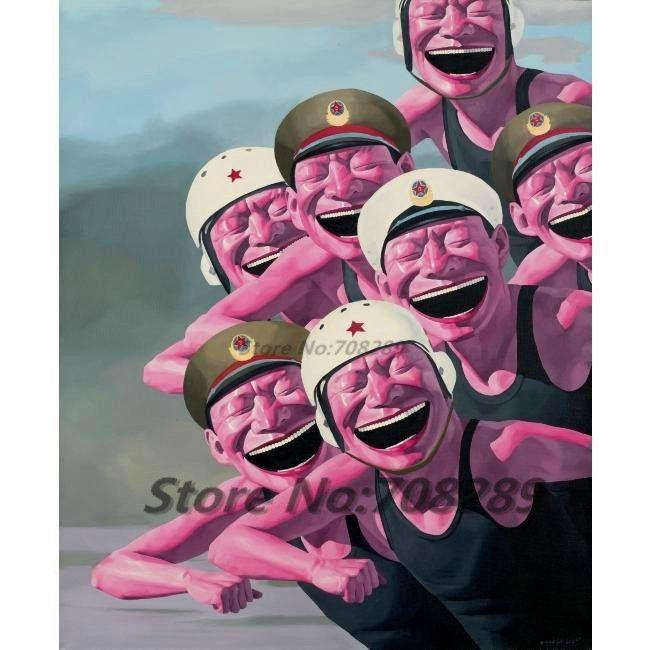 Юмор Юэ Minjun Хип-хоп улыбающееся лицо холст Современный декор живопись маслом на холсте Living Room Абстрактная картина маслом искусства стены 48     http://ali.pub/swart