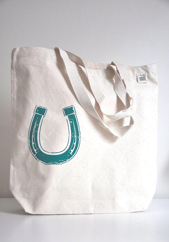 #Horseshoe #ScreenPrinted Canvas #Bag by StyledPretty, $18.00