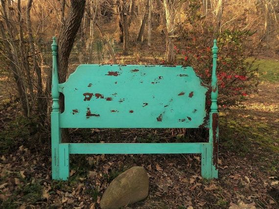 Distressed Turquoise Headboard Painted Headboard by TheRusticRiver