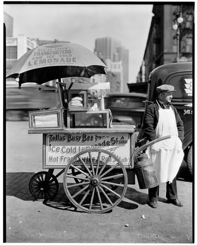 Hot dog stand on West St, Manhattan, NY 10013  April 8, 1936   @A Lifetime Legacy