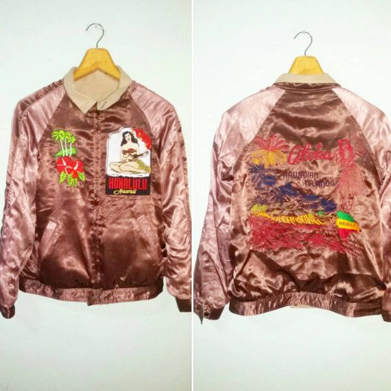 SUKAJAN SATIN JACKET HAWII ALOHA HONULULU FIT M size  Check out this item in my Etsy shop https://www.etsy.com/uk/listing/290168837/sukajan-style-hawaii-aloha-honululu