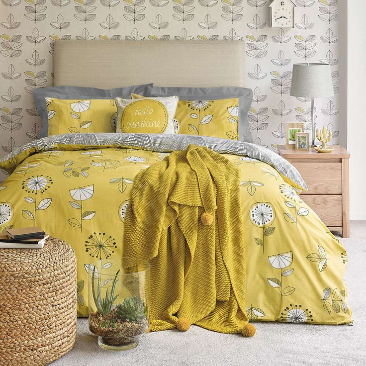 Elements Sunflower Yellow Duvet Cover and Pillowcase Set | Dunelm