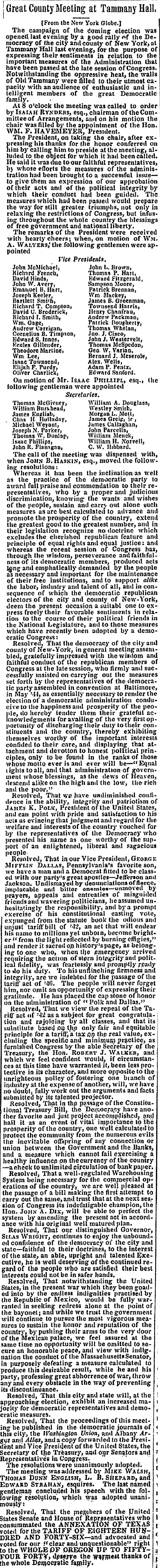 "1846. Democrat Party Platform. ""Great County Meeting at Tammany Hall"" Rynders, Chanfrau, Purdy, Broderick, WALSH etc..."