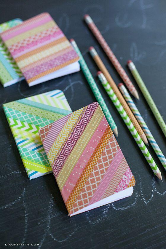 DIY: washi tape notebooks & pencils