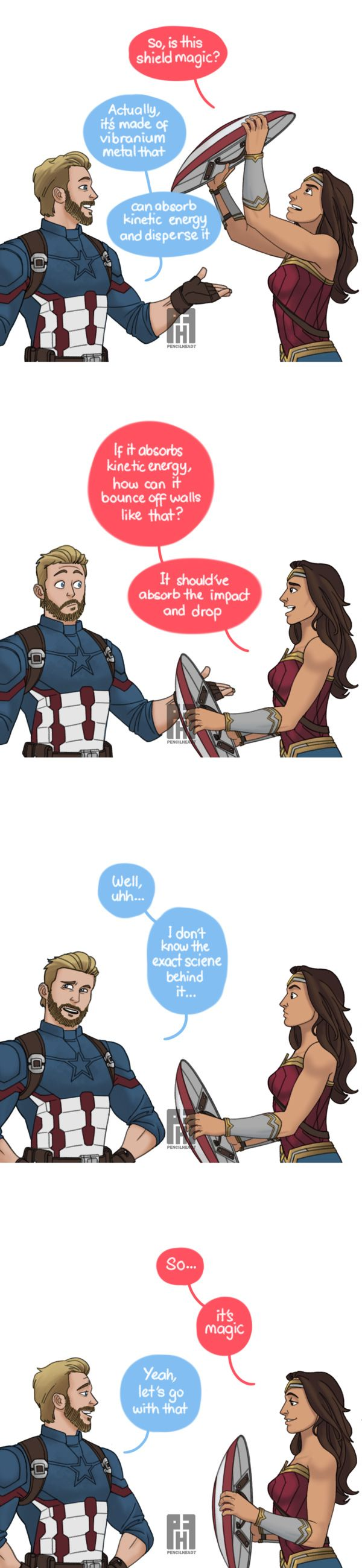 Captain America & Wonder Woman Discuss Caps Shield http://geekxgirls.com/article.php?ID=9050