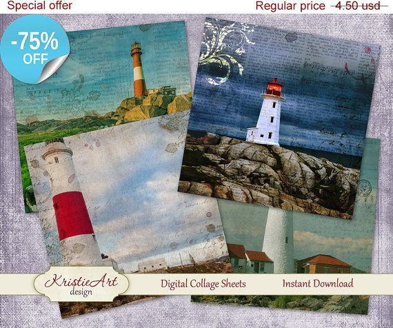 75 % OFF vente Digital collage feuilles phares par KristieArtDesign