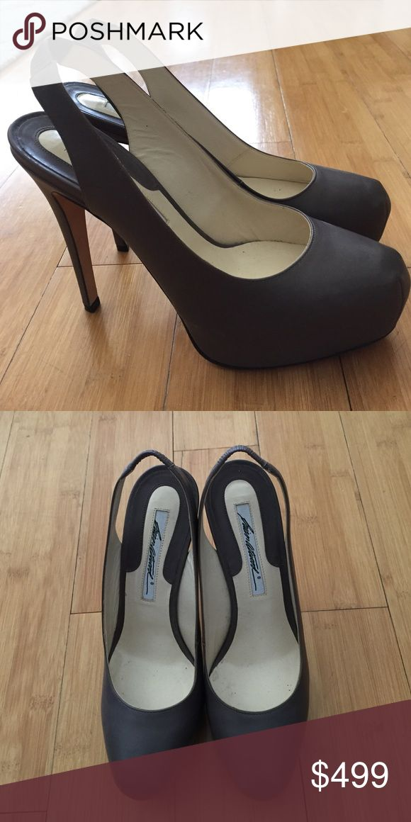 """Brian Atwood slingback pumps never been worn out! Brian Atwood dark grey slingback pumps """"Debra"""" 120mm. Never been worn outside! Brian Atwood Shoes Heels"""