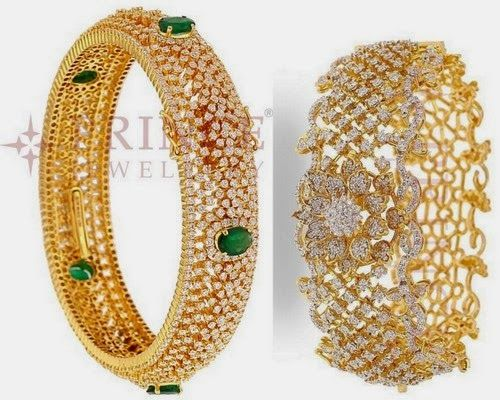 Jewellery Designs: Classic Diamond Bangles by Prince