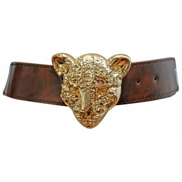 Brown Stretch Cinch Belt With Gold Metal Tiger Face Buckle ($12) ❤ liked on Polyvore featuring accessories, belts, brown, corset, adjustable belt, elastic belt, wide cinch belt, wide stretch belt and brown belt