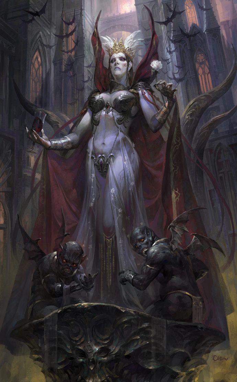 Elizabeth Bathory fantasy, Wei Feng on ArtStation at https://www.artstation.com/artwork/vampire-fantasy