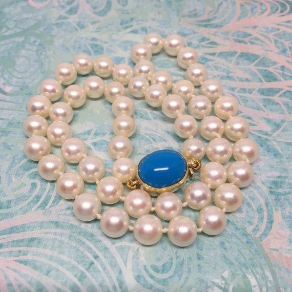 Vera e propria collana di perle Akoya con 18k chiusura turchese, ideale per matrimoni ed occasioni