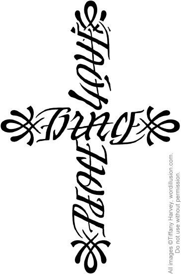 """Faith"" & ""Love"", ""Grace"", ""Hope"" & ""Peace"" Ambigram Cross"""