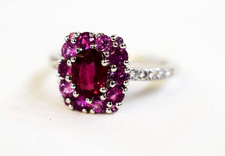 Rosy shades of Romance.  Isabelle Langlois Ruby, Pink Sapphire and Diamond Ring.