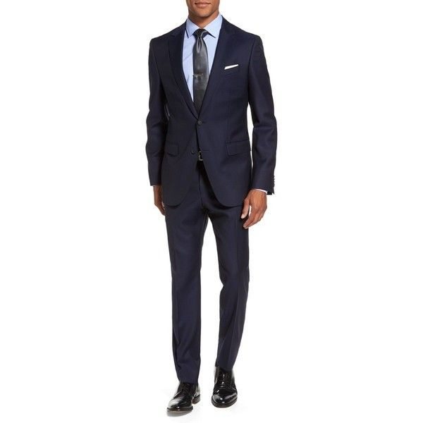 Men's Boss Nestro/byte Trim Fit Solid Wool Suit (€915) ❤ liked on Polyvore featuring men's fashion, men's clothing, men's suits, navy, merino wool mens clothing, mens clothing, mens wool suits, mens navy suit and old navy mens clothing