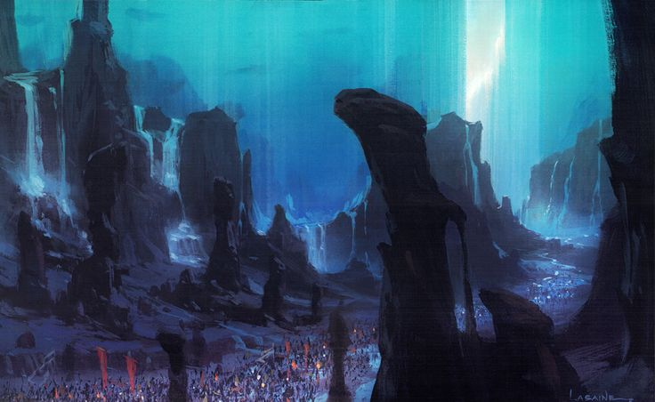 """Concept art by Paul Lasaine for DreamWorks' """"The Prince of Egypt""""."""