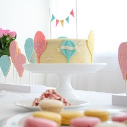 hot air balloon baby shower decorations | ... hot air balloon themed baby shower. Decorations, cake, table layout