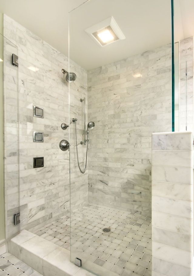 Master bathroom shower half wall instead with no glass or for Master bathroom no door