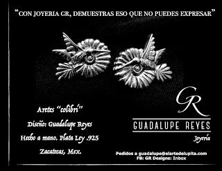 """Joyeria GR- Guadalupe Reyes:  Aretes """"colibrí"""" Diseño: Guadalupe Reyes Hecho a ..."""