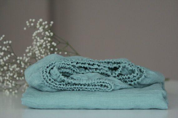 Linen fitted sheet. Aquamarine colour. Blue linen by MagicLinen