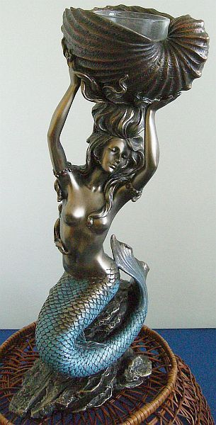 Mermaid Art Nouveau T-Light Candle Holder