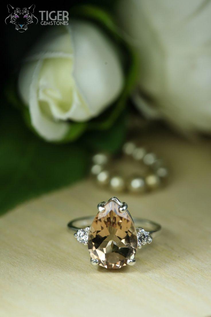 SALE 5 Carat Pear Cut Man Made Peach Morganite and Diamond Simulant Engagem