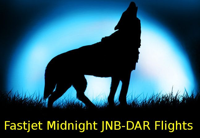 Fastjet's midnight flights from JNB to DAR depicted by a fox howling with a full moon in the background