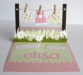 Card Pop-up.  Sweet idea for a baby shower.