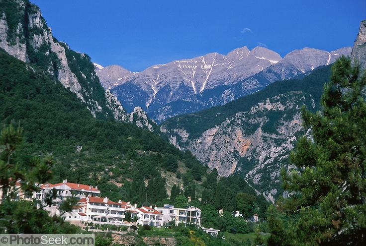 Mount Olympus (2918 meters or 9568 feet elevation), highest peak in Greece, rises high above Litohoro village.