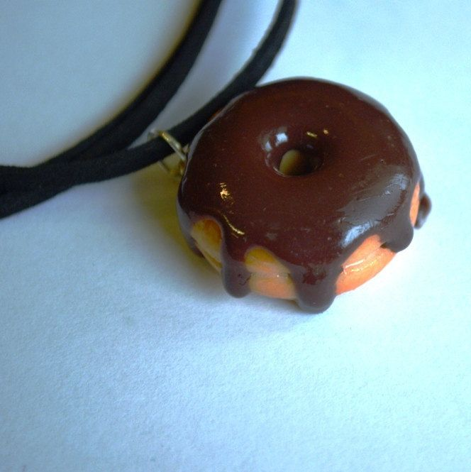 Chocolate donut polymer clay necklace by ASweetScaleWorld on Etsy