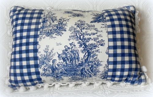 blue gingham french country bedroom | Blue Toile Accent Pillow Decorating Inspiration...A Master Bedroom ...